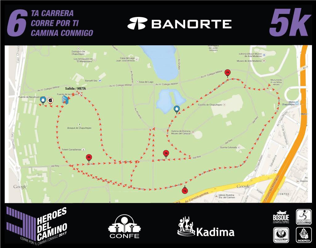 Ruta de la carrera de 5 Km