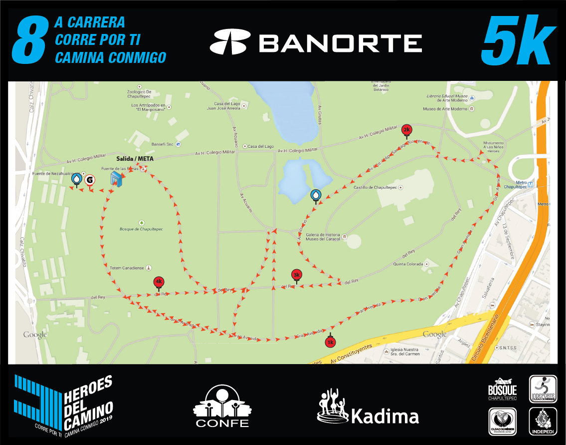 Ruta de la carrera 5 Km