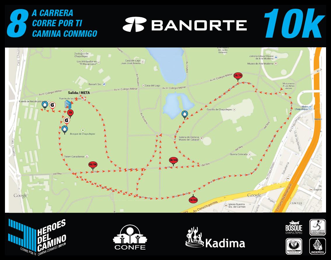 Ruta de la carrera de 10 Km.