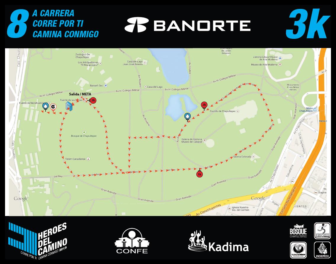 Ruta de de la carrera 3 km